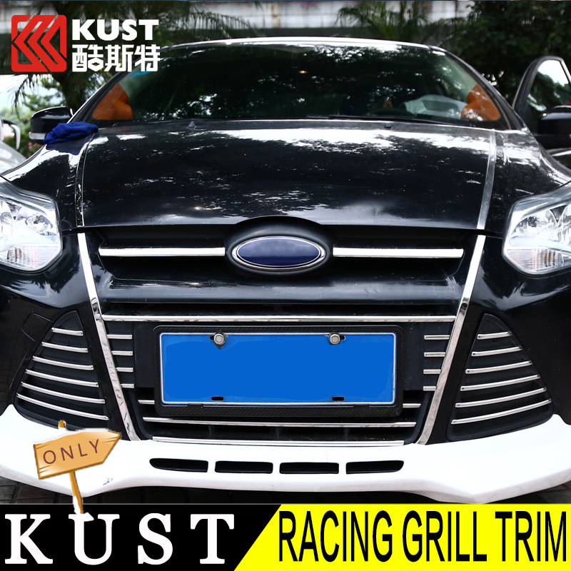 KUST 2Stainless Steel Racing Grill Trim Focus 3 Chrome Grille Strip Ford Front Cover - official store