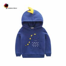 Lwly Brand New Children Clothing Winter Autumn Boys Cute Cartoon Dinosaur Cotton with velvet Sweatershirt Kids Hoodies(China (Mainland))