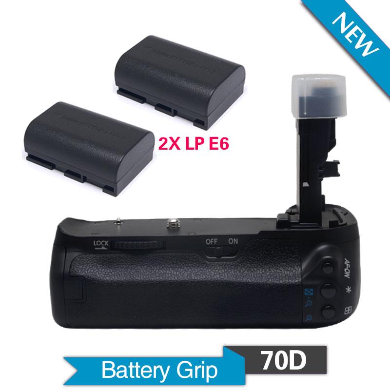 Mcoplus BG-70D Vertical Battery Grip Holder with 2pcs LP-E6 Batteries For Canon EOS 70D Camera Replace as BG-E14 as Meike MK-70D(China (Mainland))