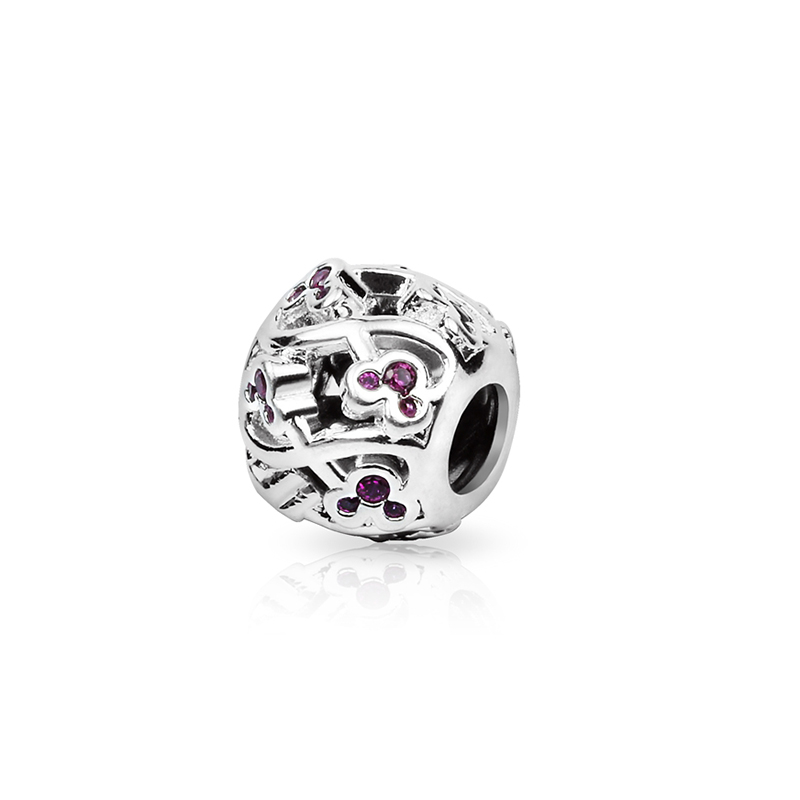 Hot Sale 925 Sterling Silver Bead Charm Pink Little Mouse Hollow Crystal Beads Fit Women DIY Pandora Bracelets & Bangles YBD221(China (Mainland))