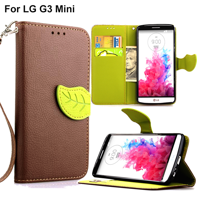 Wallet Style Flip Leather Case For LG G3S D724 Litchi Skin Stand TPU Phone Bag Cover For LG G3 S G3 Mini With Leaf Buckle(China (Mainland))