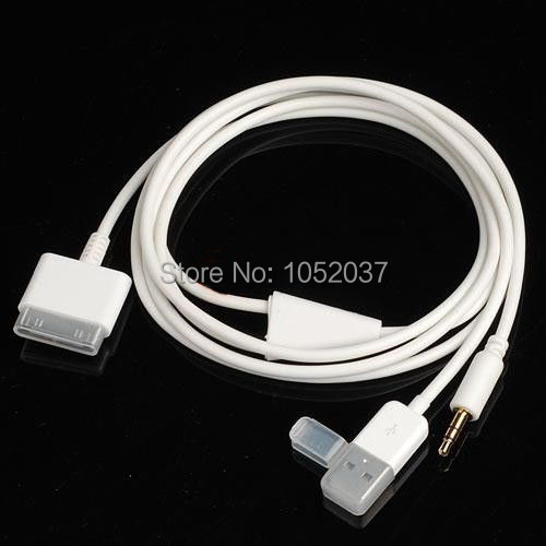 3.5mm Jack Car AUX Audio USB 30 pin Charger Data Sync Cord Cable for iPhone 4/4S iPod Nano/ Touch iPad 2/3(China (Mainland))