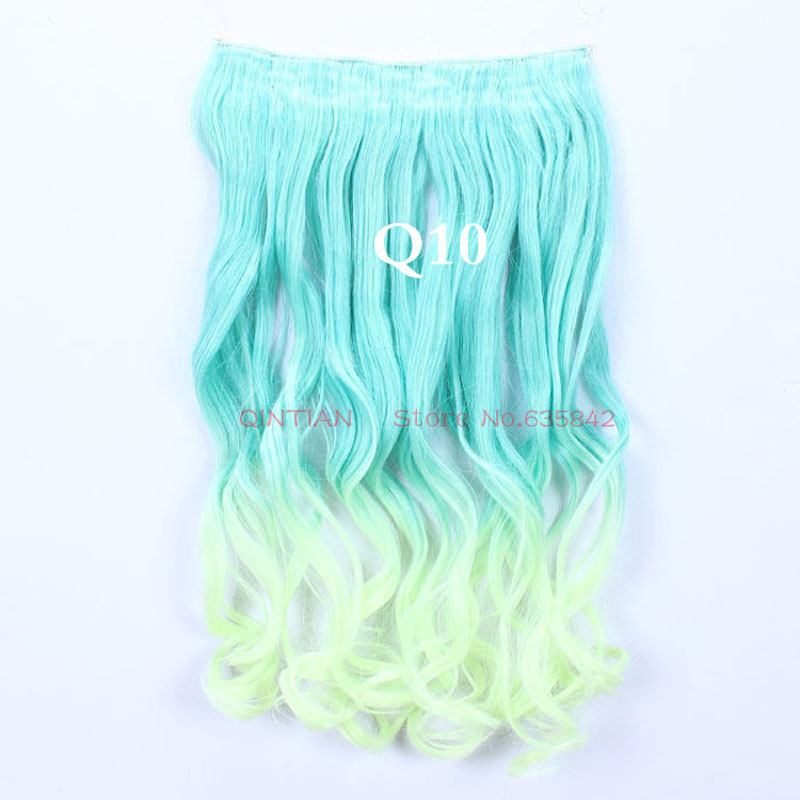 1pc 5Clips Gradient Ramp Color Clip In Hair Extensions Synthetic Hairpieces Slice Curl Wavy 24Inch 60cm Q10 Lucifer Yellow Ombre<br><br>Aliexpress