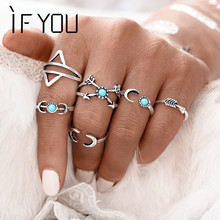 Buy 6PCS/Set Hot Bohemia Vintage Turkish Beach Rings Women Tibetan Silver Color knuckle Joint Moon Turkish Midi Ring Set 2016 for $1.47 in AliExpress store