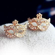 2015 New Fashion Earrings Full Rhinestones Magic Mask Stud Earrings Stylish Gold Earrings for women girls wholesale(China (Mainland))