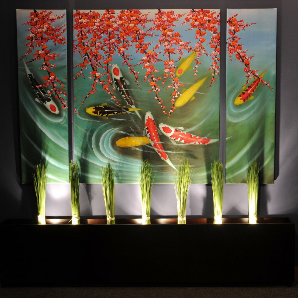 Huge canvas wall art modern contemporary abstract koi fish for Koi carp wall art