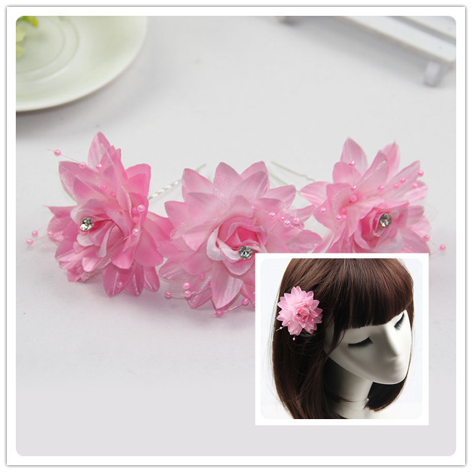 12Pcs/Lot Pink Rose Flower Wedding Bridal Hair Pins Hair Accessory Hair Sticks Women Gril's Hair Jewelry(China (Mainland))