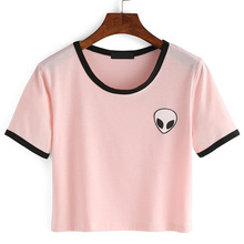 Buy Fashion Summer Kawaii Design Print Aliens T Shirts Women Short Sleeve Tops Tees Comfortable Female Pink T-shirts Ukraine for $3.92 in AliExpress store