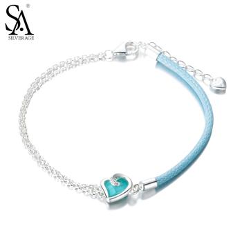 SILVERAGE Real 925 Sterling Silver Bracelet Fine Jewelry Women Blue Heart Rope Adjustable 2016 New 11.11 Gift