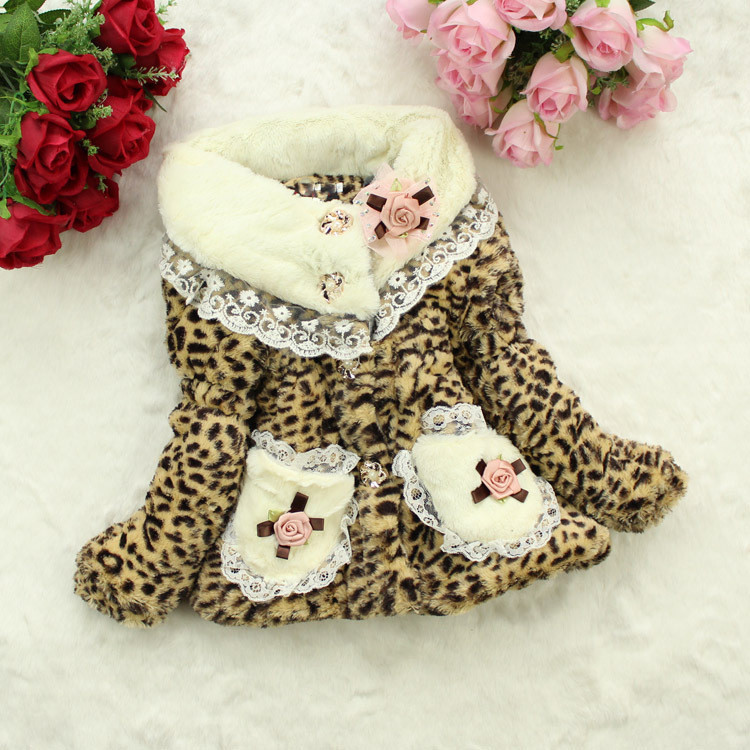 Promotion Cute baby girls leopard coats girls winter jacket for children warm outerwear toddler clothes brand kids clothes(China (Mainland))