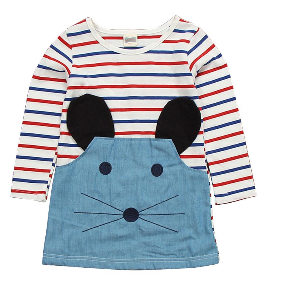 2016 Spring Summer Baby Girls Cute Dress Children Colorful Striped Dress Kids Cowboy Mouse Cartoon Cotton Denim Dress for Girls(China (Mainland))