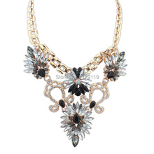 2014 New Fashion High quality Statement Choker Necklace Jewelry Noble Rhinestone Necklace for Women YJ020#(China (Mainland))