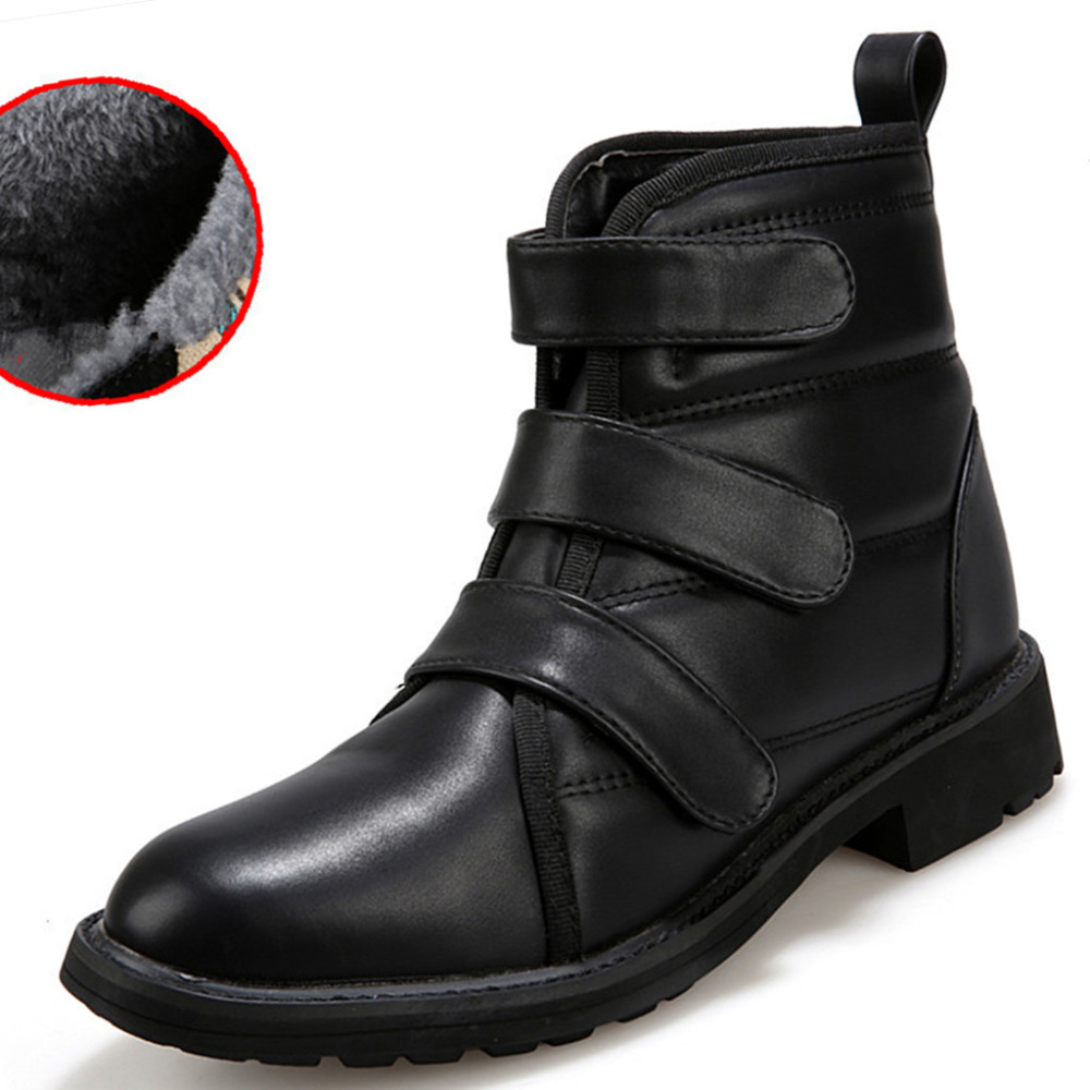 2015 Brand Men Boots Flats High Top Shoes Casual Fashion Fur Warm Breathable Lace Black Size 38-43 Winter