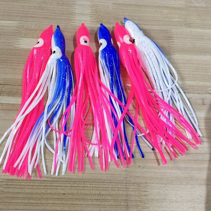 Octopus Lure Sea Fishing Lure Trolling Lure Fishing Tackle Tuna Lure Resin head with bait blazer double skirtadf