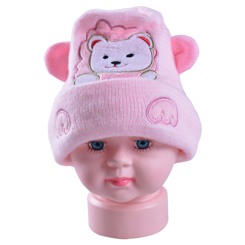 2015 new arrival baby winter thermal hats for boys and girls, infant cartoon bear (3pcs/lot) caps baby hats(China (Mainland))