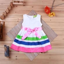 2016 Summer Cute Baby Girls Striped Sleeveless Dress Newborn Toddler Birthday Party Tutu Dress Girls Christening Bow Vest Dress