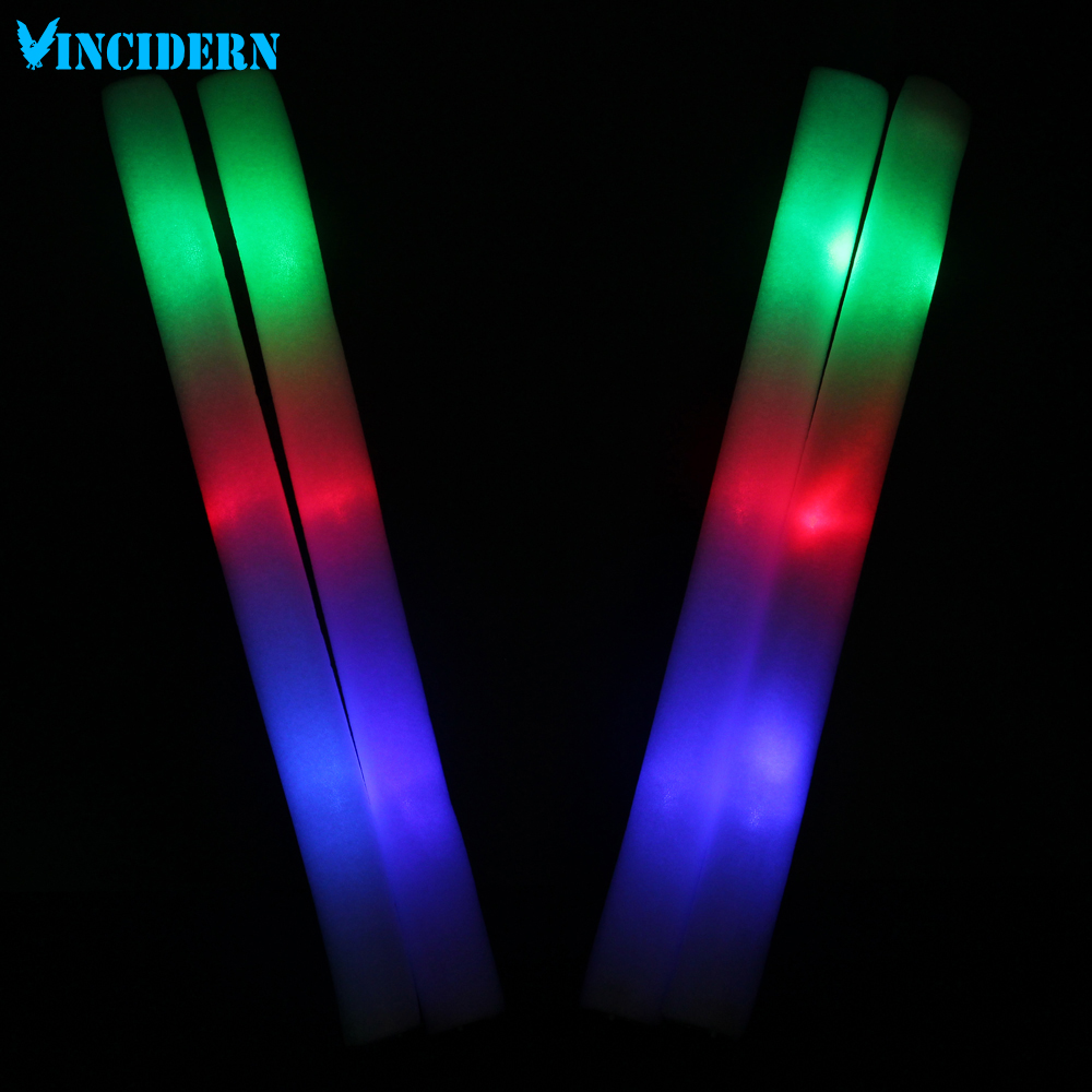 10pcs/lot LED Foam Stick Light 3 Modes MultiColor Changing flash Sticks glowing wands for Party Christmas Concert Toy(China (Mainland))