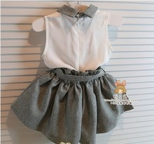 Baby girl clothes set summer chiffon clothing children and kids high quality baby girls clothing kids set suit with belt retial