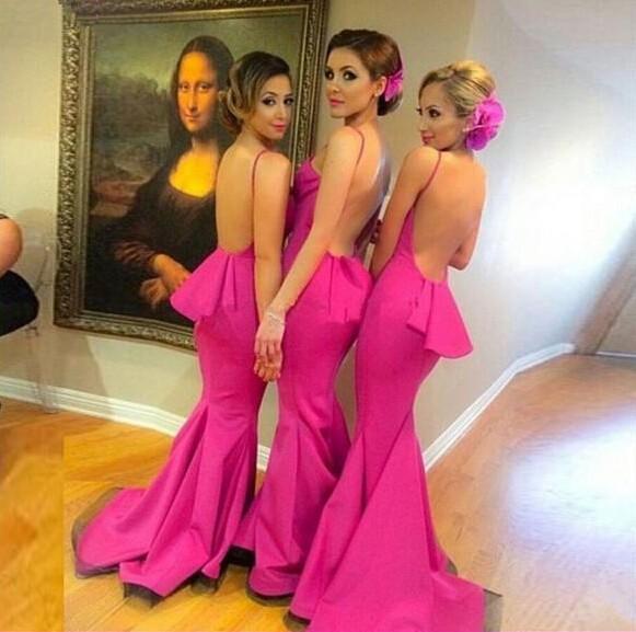 Сексуальная бретельках-line Fuschia розовый платья невесты V - декольте спинки с невесты атласная Vestido де феста