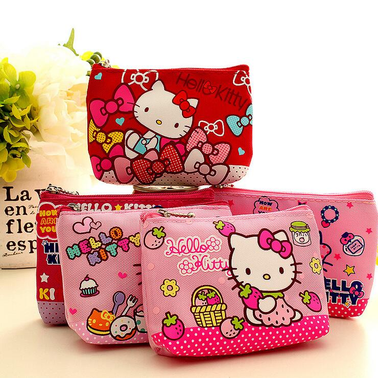 2016 New Cartoon Coin Purse Bag Hello kitty printed Change Coin Purses Lady Girls Wallet Mini Money Bag Canvas Clutch Key Wallet(China (Mainland))