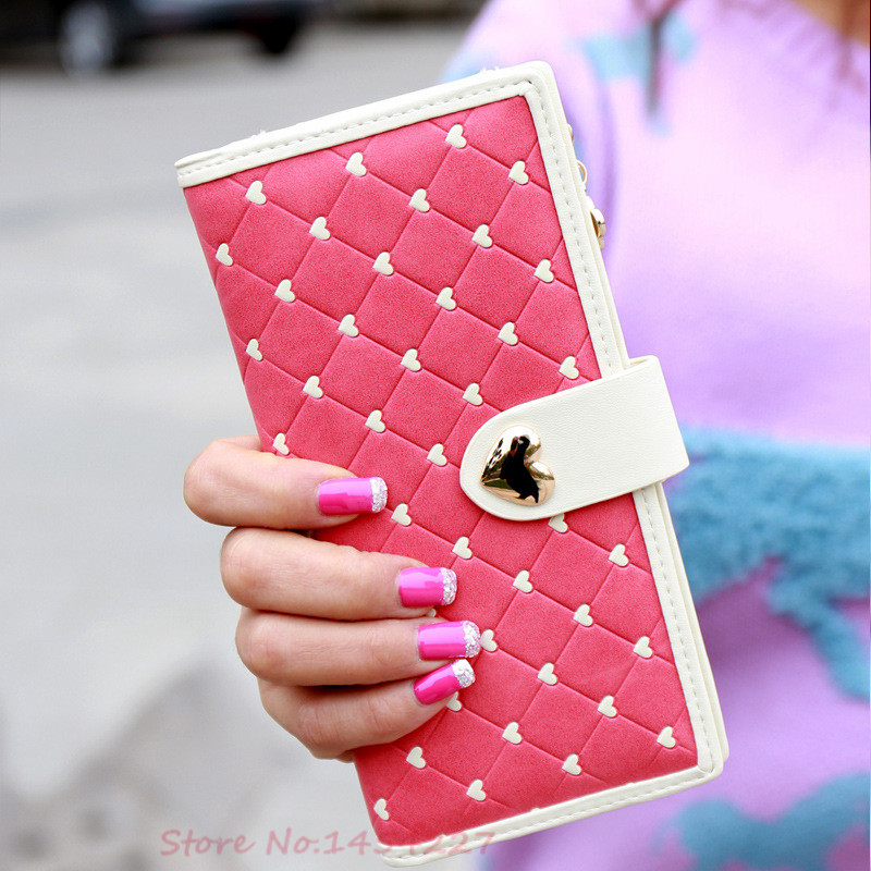 New Fashion High Quality PU Leather Zipper & Hasp Coin Card Photo Cellphone Holders 2 Folds Women Long Wallet Heart Female Purse(China (Mainland))