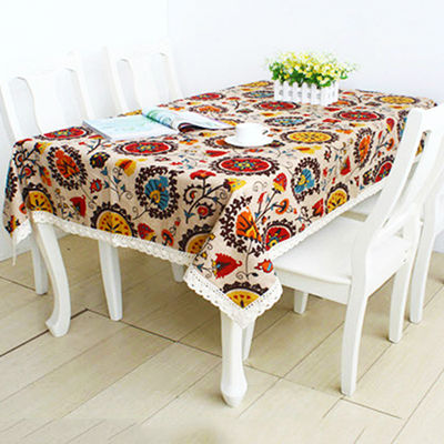 New style Mediterranean style tablecloth table cover high quality natural linen lace dining table cloth rectangle 140x220cm(China (Mainland))