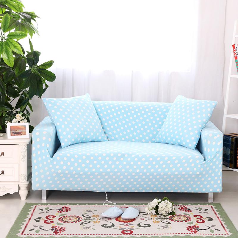 Sunnyrain Solid Dots Sofa Cover Elastic L Shaped Sofa