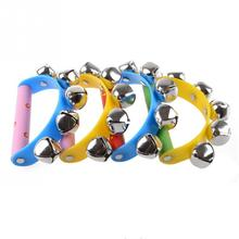 2016 Free Shipping Little Hand Held Tambourine Bell Metal Jingles Ball Percussion Musical Toy Kid Children Gift Wholesale Retail(China (Mainland))