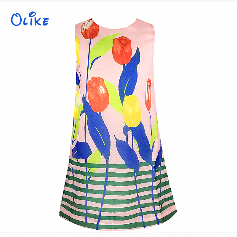 Girl Sleeveless Dress Regular Print Kids Blue And Pink Dresses For Girls Clothes Beautiful Children Dresses 2-12 Years Ok062901(China (Mainland))