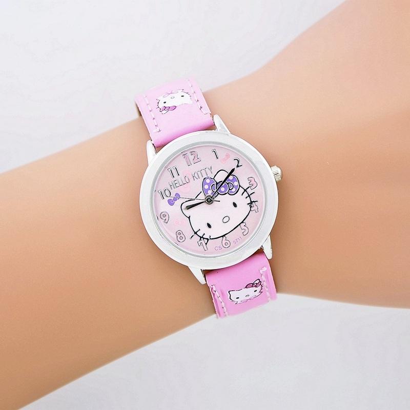 2016 New Hello Kitty Watches montre femme children cartoon watches ladies women good quality best gift for kids watch(China (Mainland))