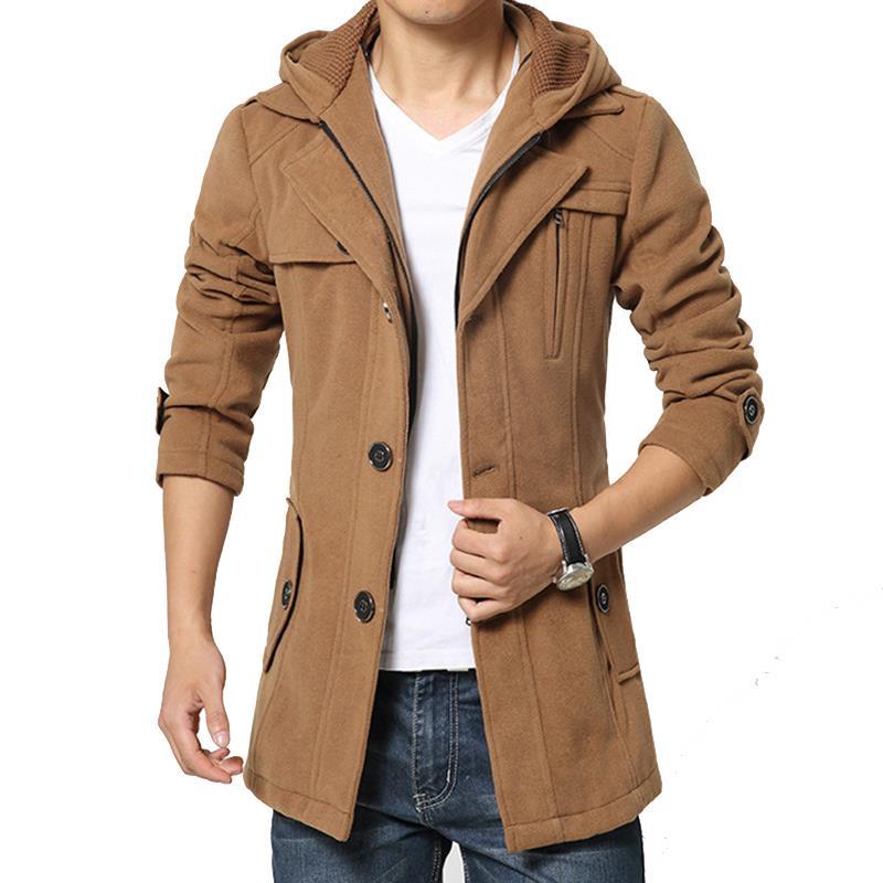 Hot Sale 2015 Fashion Brand Winter Jacket Men  Collar Slim  Pea Coat With Hood Men Long Coat Wool Coat 4XLОдежда и ак�е��уары<br><br><br>Aliexpress