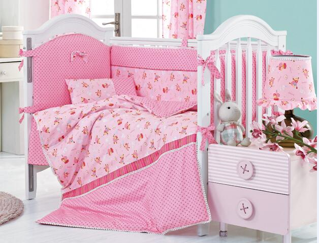 8 Pieces Pink Sheep Crib Baby Bedding Set Baby Nursery Cot Ropa de Cama Crib Bumper Quilt Fitted Sheet Dust Ruffle With Quilt(China (Mainland))
