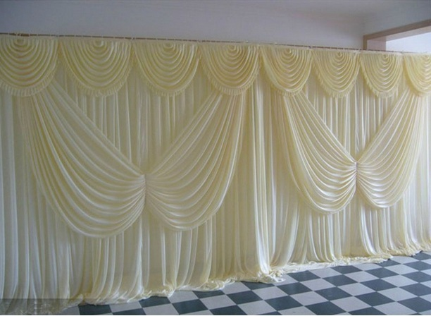 10ft 20ft ice silk White Color with butterfly swag Wedding Drape curtain Backdrop