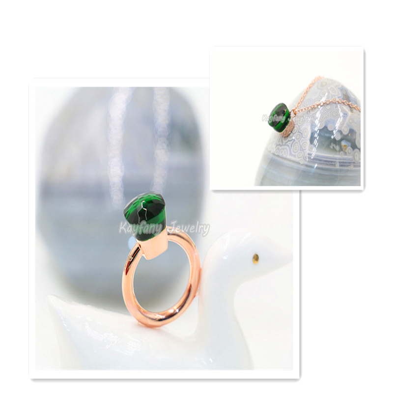 2016 Brand Fine Jewelry Ring Sets Rose Gold Plated Dark Green Crystal Favorite Woman's Life Christmas Parure Bijoux Femme(China (Mainland))