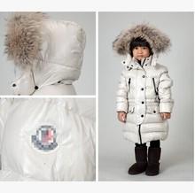 2016children's clothing winter baby down coat male female child down coat medium-long kimi beige small