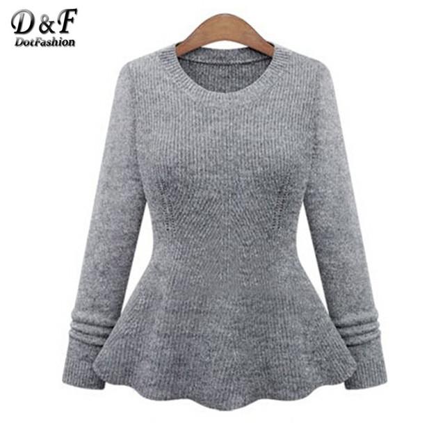 Вязаные пуловеры осень с длинным рукавом винтаж одежда женщин 2016 простой сплошной ...