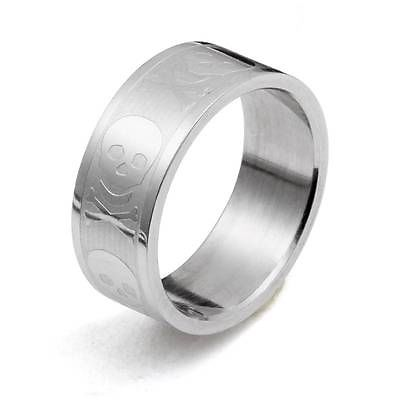 Wholesale 10pc Smooth Stainless Steel Men or Women Engrave Punk Skull Band Ring,US Size (6-9) TR16(China (Mainland))