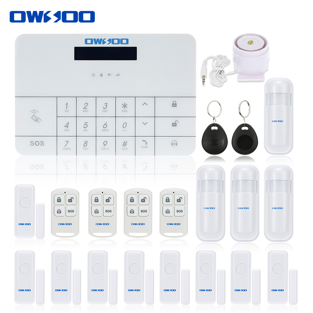 OWSOO Newest Wireless GSM&SMS Alarm House Security Burglar Intruder System Remote Control by APP&SMS Alarm System Auto Dialer