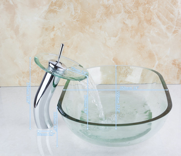 New Clear Boat Shape Construction Real Estate Bathroom Basin Vessel Faucet Tap Lavatory Glass Basin Sets