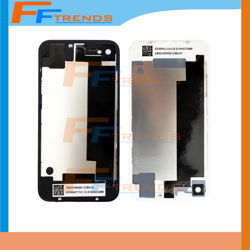 Wholesale Lower Price 50 pcs/lot Top Quality back glass For iPhone 4 4S Back Panel Glass Cover Black/White 100% New + Free DHL(China (Mainland))
