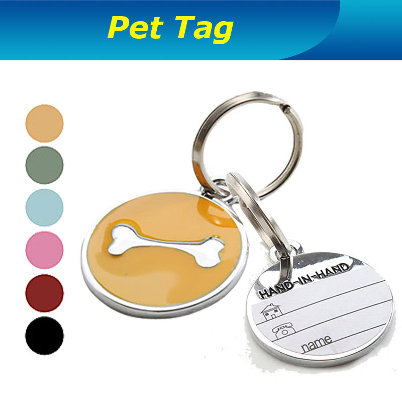 Stainless steel Dog Bone Style Dog Name Tag Pets Dog Necklace Identity card Key Chain For easy finding Pet or Key Free Shipping(China (Mainland))