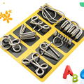 8PCS lot Different Patterns 3D Interlocking Metal Puzzle IQ Wire Brain Teaser Game for Children Adults
