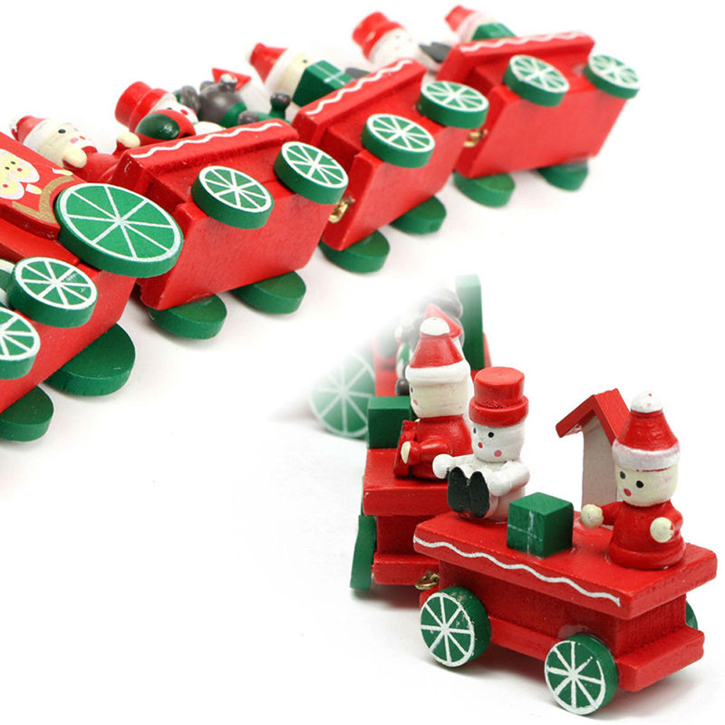 2016 New 4 Piece Wood Christmas Xmas Train for Ornament Decoration Decor Gift Free Shippinf(China (Mainland))