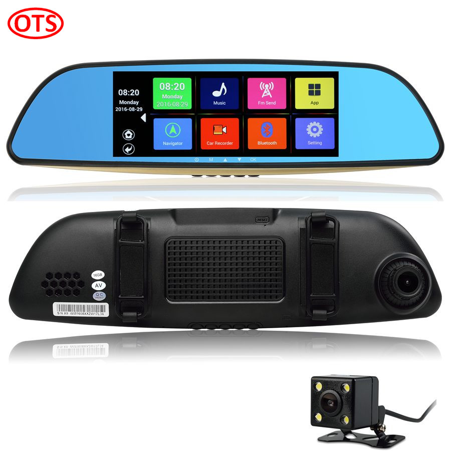 New 7 inch GPS Mirror Android GPS Navigation DVR Bluetooth Phone Call Full HD 1080P WiFi Dual Video Camera Rear View Mirror GPS(China (Mainland))