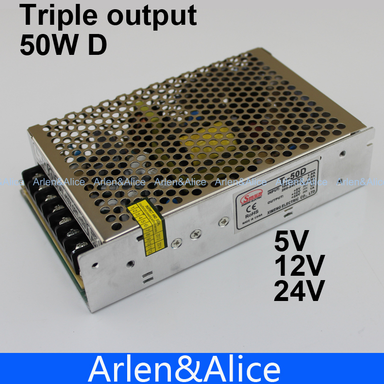 50W Triple output 5V 12V  24V Switching power supply smps AC to DC<br><br>Aliexpress