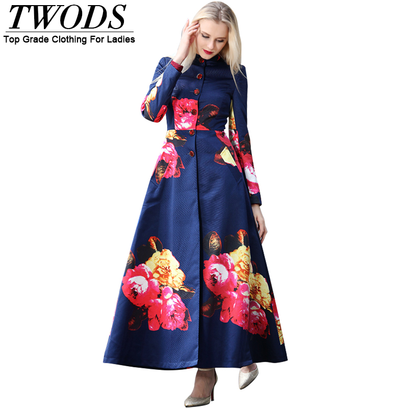 Twods 2016 Spring New Maxi Long Trench Coat For Women Stand Collar Long Sleeve Slim Cut Floral Print Jacket Plus Size