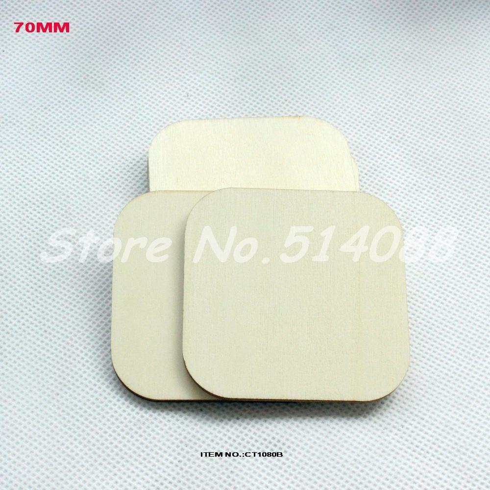 (50pcs/lot) Large Unfinished Wood Blocks Round Corner Square Shape Crafts -CT1080B(China (Mainland))