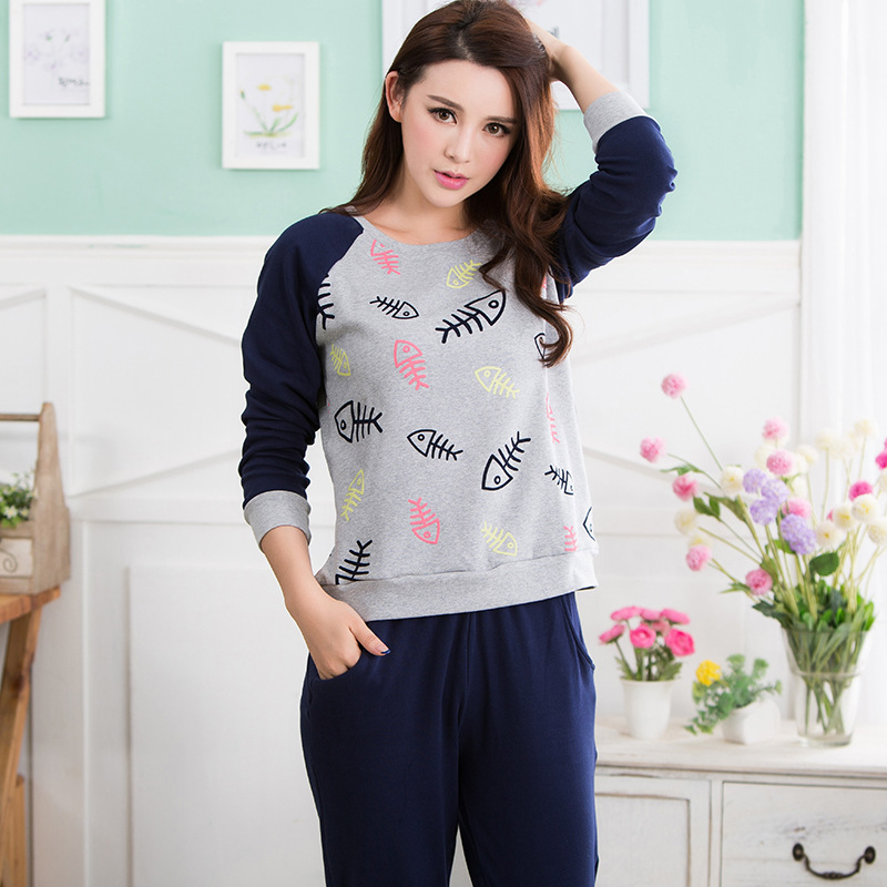[Taobao explosion models] on behalf of Ms. Spring and Autumn Korean long-sleeved cotton pajamas cartoon cute gray sports suitОдежда и ак�е��уары<br><br><br>Aliexpress
