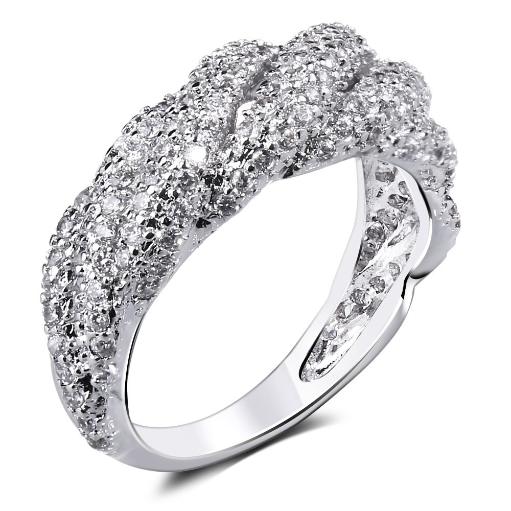 Women Rings' Secret New Woven Look Women Cocktail CZ Rings Platinum Plated Wedding Statrement Ring Unique Design Free Shipping(China (Mainland))