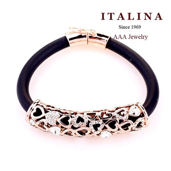 Italina Rigant Brand Gold Plated Austrian Crystal Heart Tube Bar Black Leather Bracelet for Women(China (Mainland))